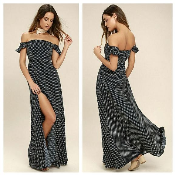 55f11f20920 Lulus navy polka dot off shoulder maxi dress. Listing Price   35.00. Your  Offer